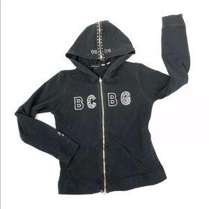 BcbgMaxAzria Black Zip Up Hoodie Sweatshirt